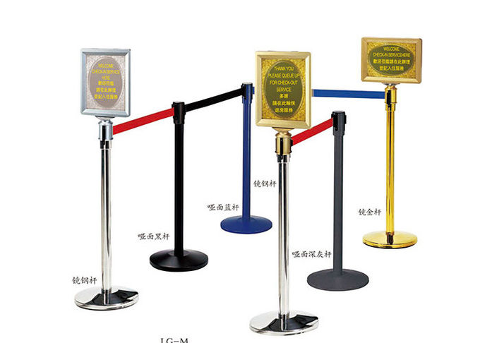 Stainless Steel Railing Stand Silver/Golden Crowd Control Stanchion with Tabby Retractable Belt Rust-Resistant